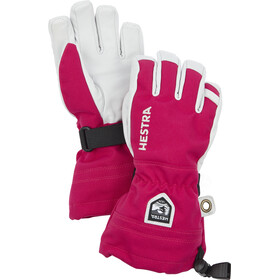 Hestra Army Leather Heli Ski 5-Finger Handschuhe Kinder fuchsia